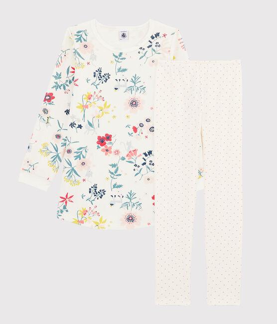 Chemise de nuit à fleurs en velours petite fille avec legging blanc Marshmallow / blanc Multico