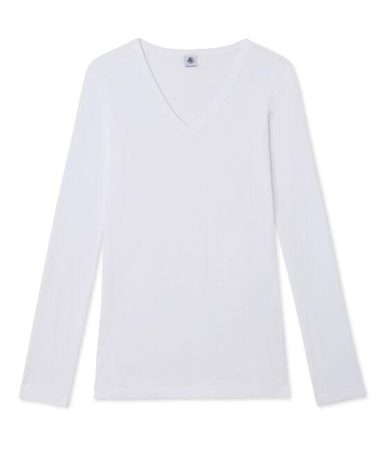 T-shirt femme manches longues col V blanc Ecume
