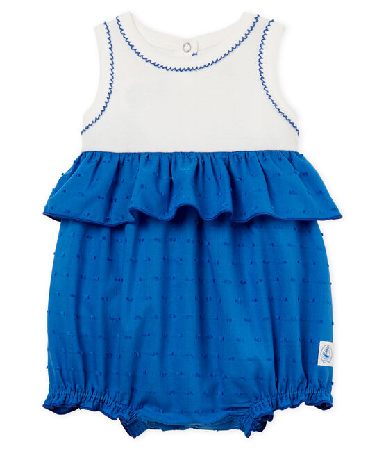 Combicourt bébé fille blanc Marshmallow / bleu Cool