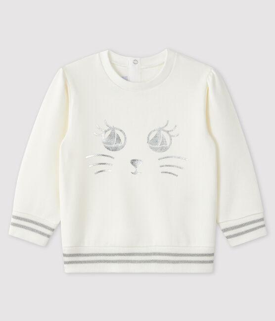 Sweatshirt bébé fille en molleton blanc Marshmallow