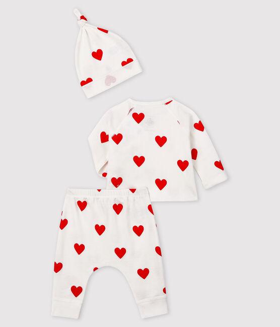 Ensemble cadeau cœurs rouges bébé fille en côte blanc Marshmallow / rouge Terkuit