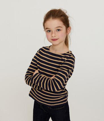 Marinière manches longues enfant fille bleu Smoking / marron Brindille Brillant