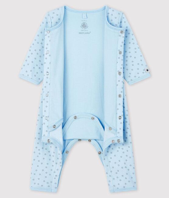Bodyjama sans pieds étoiles bleues bébé garçon en côte bleu Fraicheur / gris Concrete