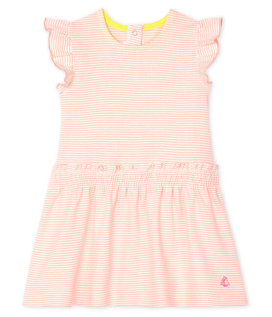 Robe milleraies bébé fille rose Patience / blanc Marshmallow