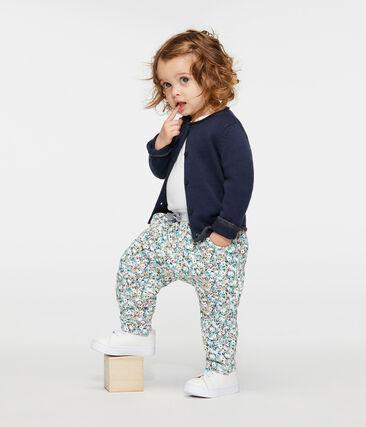 Pantalon bébé fille en molleton imprimé gris Beluga / blanc Multico