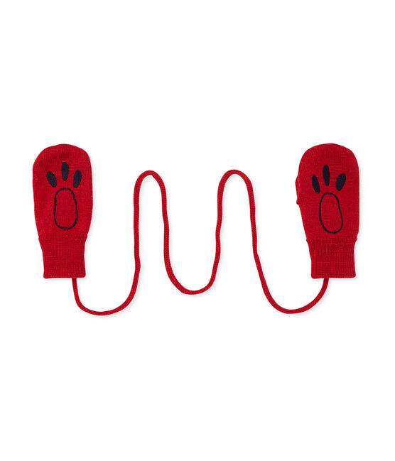 Moufles bébé mixte en laine mélangée rouge Froufrou