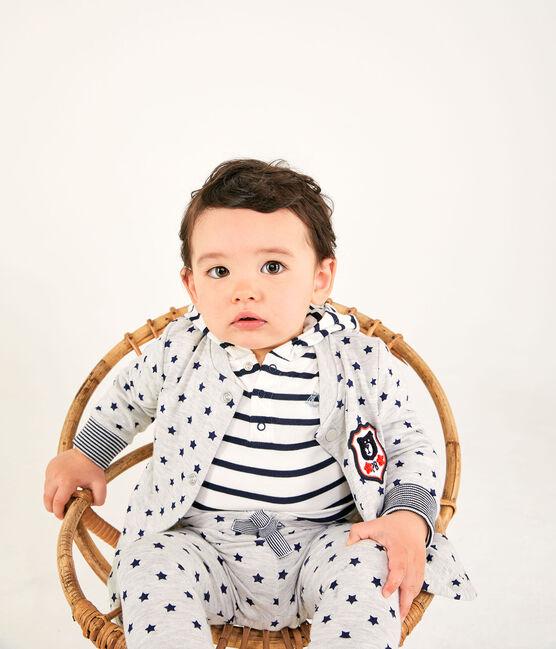 Cardigan bébé garçon en tubique imprimé gris Beluga / bleu Smoking