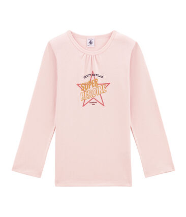 tee-shirt manches longues petite fille rose Joli