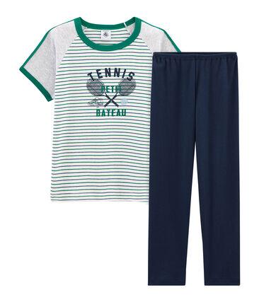 Pyjama à manches courtes petit garçon en côte blanc Marshmallow / blanc Multico