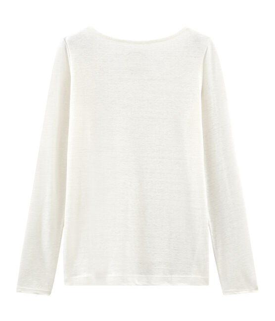 Tee-shirt manches longues femme en lin blanc Marshmallow