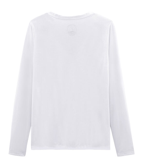 Tee shirt manches longues coton sea island femme blanc Ecume