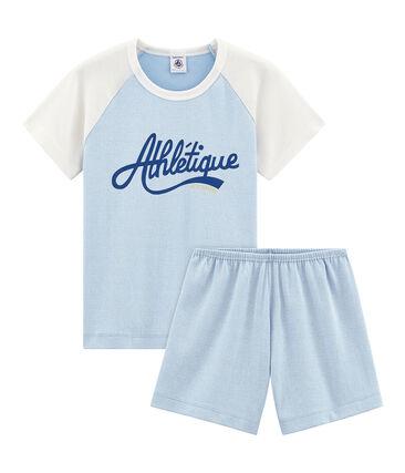 Pyjacourt petit garçon en côte bleu Placid / blanc Marshmallow