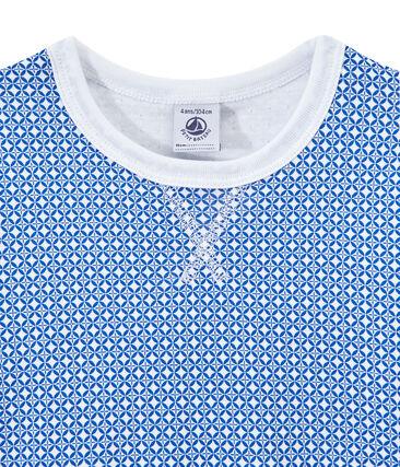 Pyjama garçon en tubique manches courtes blanc Ecume / bleu Perse