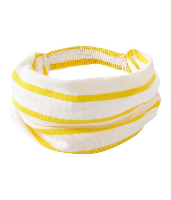 Fichu fille rayé blanc Marshmallow / jaune Shine