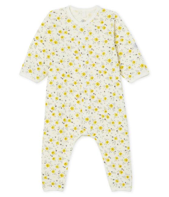 Combinaison longue bébé en laine et coton blanc Marshmallow / blanc Multico