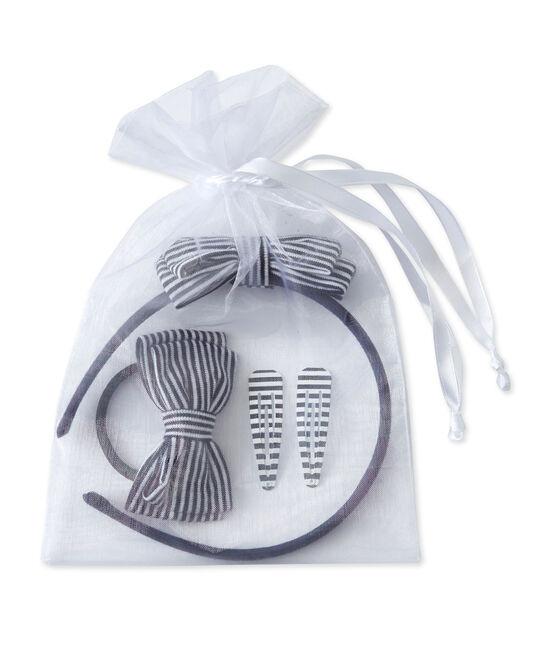 Kit serre-tête et accessoires cheveux en milleraies bleu Smoking / beige Coquille