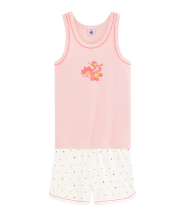 Pyjacourt petite fille en côte rose Minois / blanc Multico