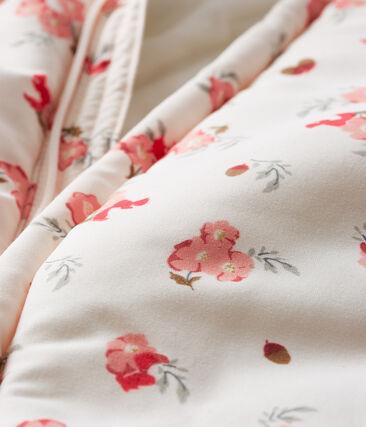 Combipilote microfibre imprimée bébé fille rose Fleur / blanc Multico