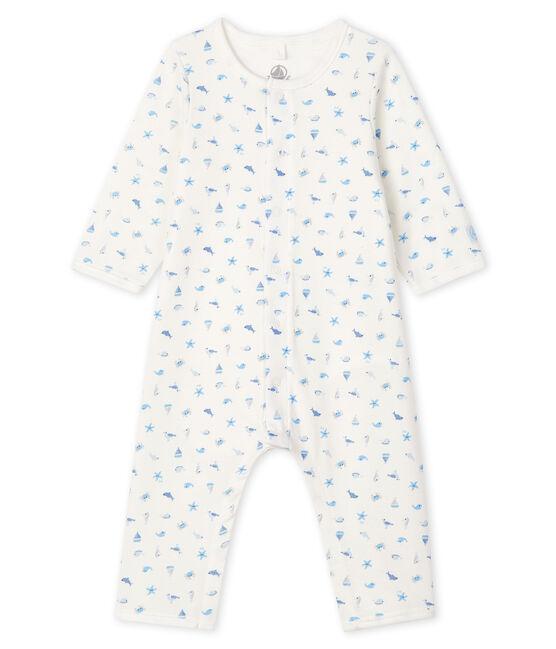 Bodyjama sans pieds bébé en côte blanc Marshmallow / blanc Multico