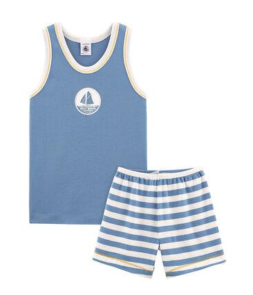 Pyjacourt petit garçon en côte bleu Alaska / blanc Marshmallow