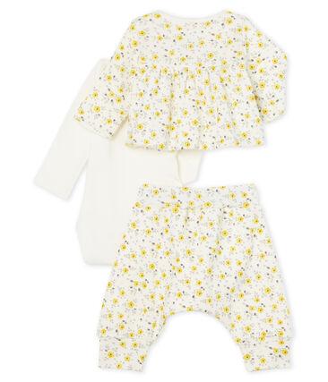 Ensemble trois pièces bébé fille en laine et coton blanc Marshmallow / blanc Multico Cn