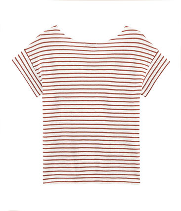Tee-shirt manches courtes femme en lin blanc Marshmallow / rose Copper