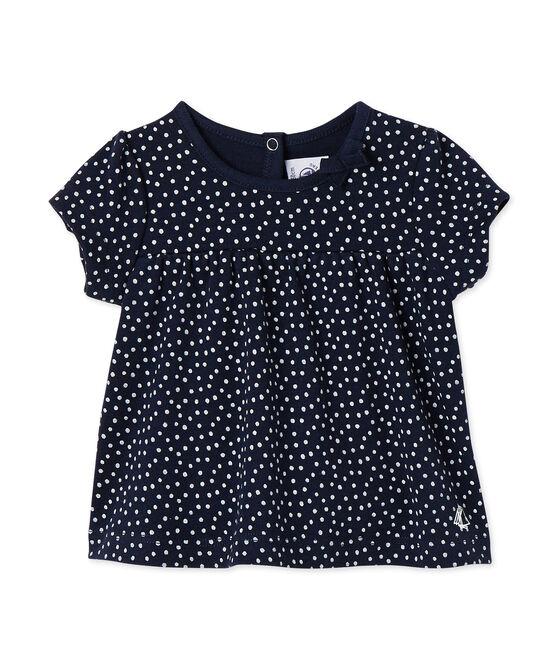 T-shirt bébé fille imprimé bleu Smoking / blanc Lait