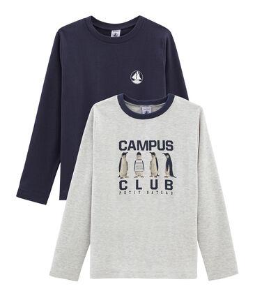 Lot de 2 tee-shirts garçon : sérigraphié + uni