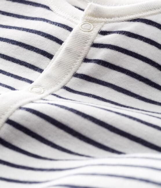 Combisac bébé en côte blanc Marshmallow / bleu Smoking