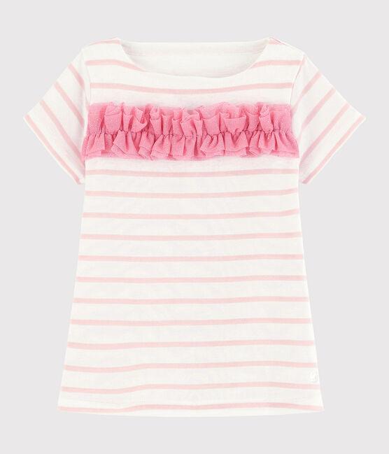 Tee-shirt manches courtes en coton enfant fille blanc Marshmallow / rose Minois