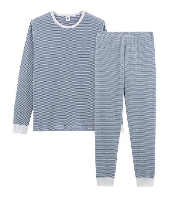 Pyjama garçon en côte bleu Major / blanc Marshmallow