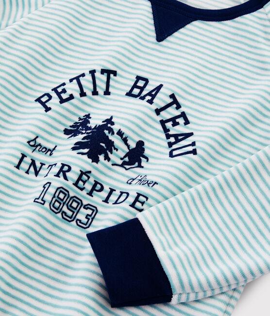 Pyjama motif yeti en velours petit garçon bleu Medieval / blanc Multico