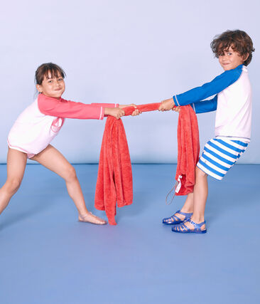 Short de plage enfant garçon bleu Riyadh / blanc Marshmallow
