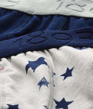 Lot de 2 boxers garçon en jersey stretch imprimé + uni lot .