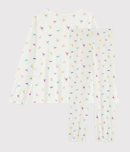 Pyjama imprimé oiseaux petite fille en côte blanc Marshmallow / blanc Multico