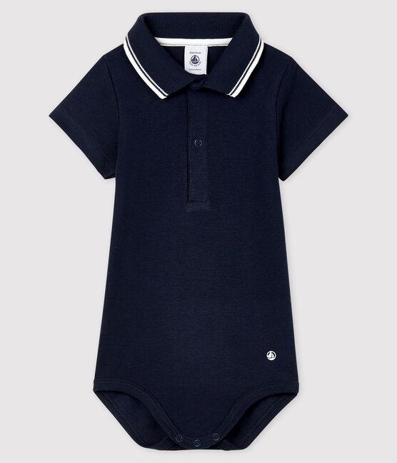 Body col polo en coton manches courtes bébé garçon bleu Smoking