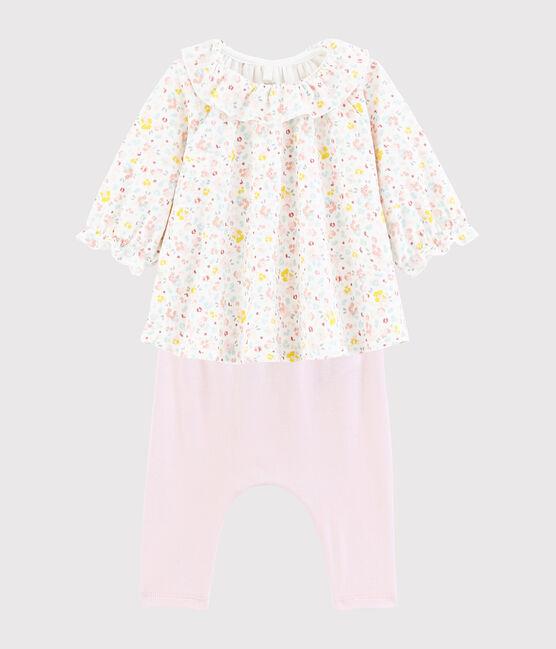 Robe et legging bébé à fleurs en coton biologique blanc Marshmallow / blanc Multico