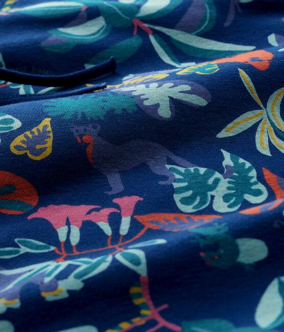 Tour de lit à imprimé jungle bébé en côte bleu Medieval / blanc Multico