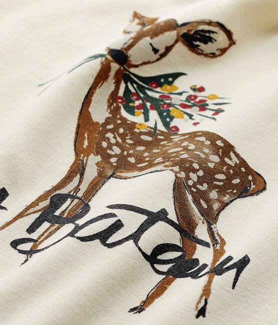 T-shirt manches longues fille à motif beige Coquille / rouge Froufrou