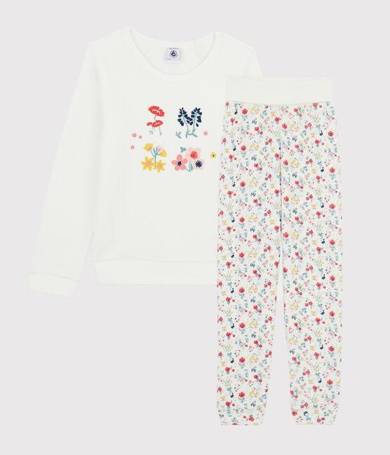 Pyjama petite fille taille montante en bouclette éponge grattée blanc Marshmallow / blanc Multico