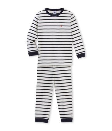 Pyjama petit garçon en côte beige Coquille / bleu Smoking