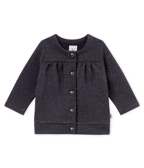 Cardigan bébé fille en molleton brillant bleu Smoking / jaune Dore