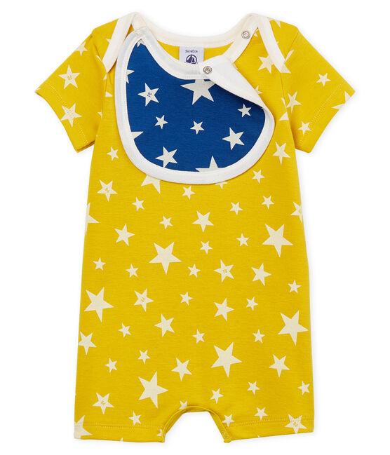 Combicourt bébé garçon en côte jaune Honey / blanc Marshmallow