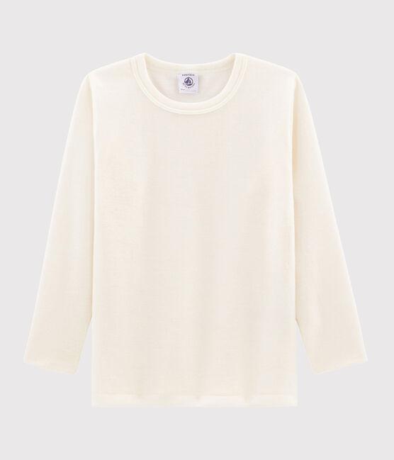 Tee-shirt manches longues enfant uni en laine et coton beige Ecru