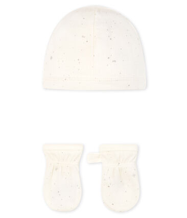 Lot bonnet et moufles bébé en tubique