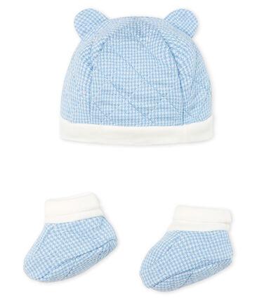 Lot bonnet et chaussons bébé garçon en tubique matelassé. lot .