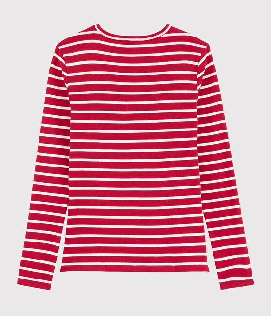 T-shirt iconique col V Femme rouge Terkuit / blanc Marshmallow