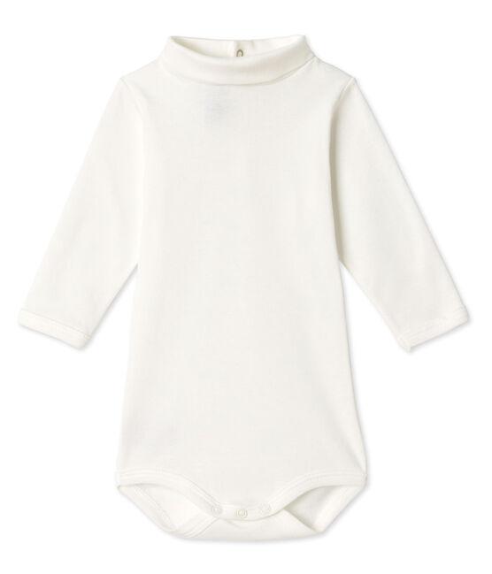Body bébé à col roulé blanc Lait