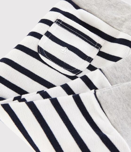 Pantalon rayé bébé garçon blanc Marshmallow / bleu Smoking