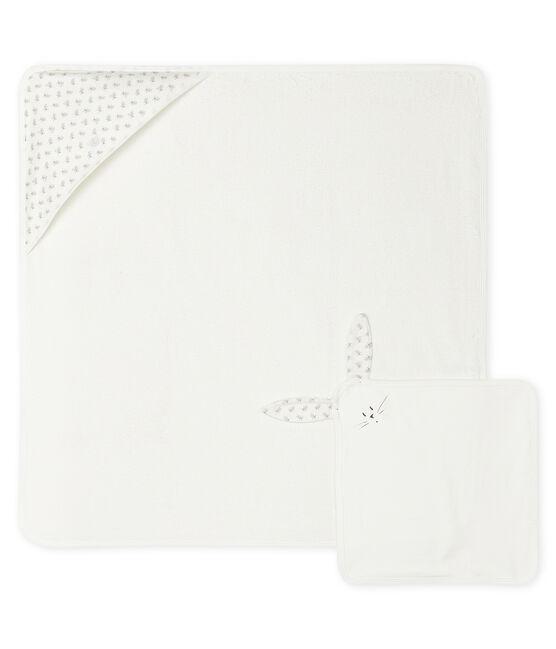 Coffret carré de bain et doudou bébé en éponge et tubique blanc Marshmallow / blanc Multico